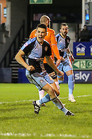 Luke O'Nien of Wycombe Wanderers shows his delight as Paul Hayes of Wycombe Wanderers (left) doubles their lead against Luton Town to make it 0-2 during the Sky Bet League 2 match between Luton Town and Wycombe Wanderers at Kenilworth Road, Luton, England on 26 December 2015. Photo by David Horn.