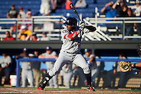 Mahoning Valley Scrappers first baseman Emmanuel Tapia (6) at bat during a game against the Batavia Muckdogs on June 23, 2015 at Dwyer Stadium in Batavia, New York.  Mahoning Valley defeated Batavia 11-2.  (Mike Janes/Four Seam Images)