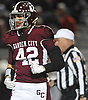 Andrew DeSantis #42 of Garden City reacts after a Mepham turnover on downs in the Nassau County Conference II varsity football final at Hofstra University on Friday, Nov. 17, 2017. Garden City won by a score of 33-0.