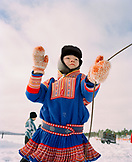 FINLAND, Hemet, Arctic, a Sami boy wearing the traditional Sami outfit during a Sami Festival in Hemet.