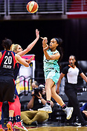 Washington, DC - June 15, 2018: New York Liberty guard Epiphanny Prince (10) makes a jump pass during game between the Washington Mystics and New York Liberty at the Capital One Arena in Washington, DC. (Photo by Phil Peters/Media Images International)