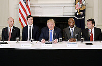 United States President Donald Trump (C) speaks as Juan Luciano (L) Chairman/President/CEO at Archer-Daniels-Midland Co, Jared Kushner, White House Senior Adviser, Kenneth Frazier Chairman and CEO, Merck  and Ford Motor CEO Mark Fields(R) look on during a  listening session with manufacturing CEOs  in the State Dining Room  of the White House on February 23, 2017 in Washington, DC. Photo Credit: Olivier Douliery/CNP/AdMedia