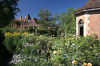 View of the well stocked garden of the Chateau de la Bourlie, Dordogne