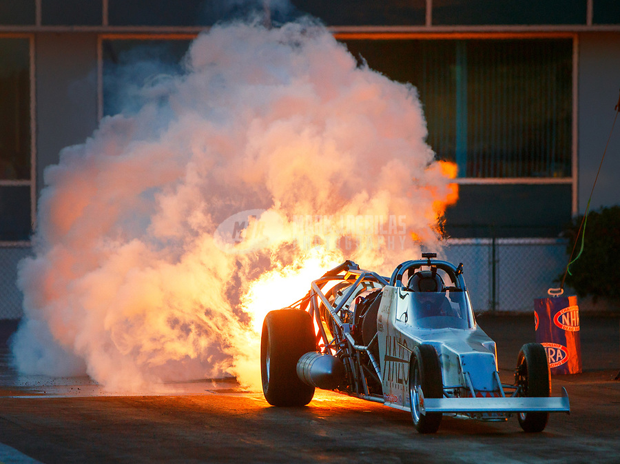 Mar 17, 2017; Gainesville , FL, USA; NHRA jet dragster driver Jake Elliott during qualifying for the Gatornationals at Gainesville Raceway. Mandatory Credit: Mark J. Rebilas-USA TODAY Sports