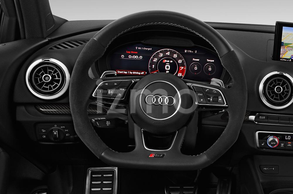 Car pictures of steering wheel view of a 2018 Audi RS-3 4WD 4 Door Sedan Steering Wheel