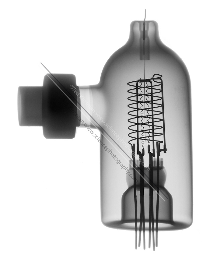 X-ray of a Vacuum Ionization Gauge Tube.  These Ionization Gauge Tubes are hot cathode gauges of the Bayard-Albert Type intended for pressure measurement from 10-3 Torr down to 3 x 10-10 Torr.  These gauges are common in high vacuum equipment used in research and industry.