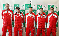 03-03-2005,Swiss,Freibourgh, Davis Cup , Swiss-Netherlands, Team Swiss, Coach Marc Rosset, Stanislas Wawrenko, Yves Allegro, George Bastl , Marco Chiudinelli.