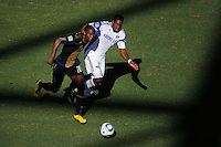 Danny Mwanga (10) of the Philadelphia Union is marked by Craig Rocastle (4) of the Kansas City Wizards. The Philadelphia Union and the Kansas City Wizards played to a 1-1 tie during a Major League Soccer (MLS) match at PPL Park in Chester, PA, on September 04, 2010.