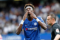 GOAL - Tammy Abraham of Chelsea blows kisses after scoring during the Premier League match between Chelsea and Sheff United at Stamford Bridge, London, England on 31 August 2019. Photo by Carlton Myrie / PRiME Media Images.