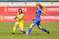 20190422 - Denderleeuw, BELGIUM : Yellow Flame Heike Maelfait (L) and Gent's Lore Jacobs (R) pictured during the final of the Under 16 Belgian Cup 2019, a soccer game between AA GENT Ladies B and The Yellow Flames1.0 , in the Van Roystadion in Denderleeuw , Monday 22 th April 2019  , PHOTO SPORTPIX.BE / DIRK VUYLSTEKE