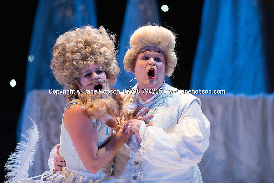 London, UK. 16.10.2014.  English Touring Opera presents LIFE ON THE MOON, by Joseph Haydn, directed by Cal McCrystal, with lighting design by Lee Curran and set & costume design by takis, at the Hackney Empire. Picture shows:  Jane Harrington (Clarice) and Christopher Turner (Ecclitico). Photograph © Jane Hobson.