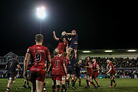 Danny Kenny of London Scottish collects the ball in the line out during the Greene King IPA Championship match between London Scottish Football Club and Jersey Reds at Richmond Athletic Ground, Richmond, United Kingdom on 16 March 2018. Photo by David Horn.