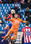 Stefan Savic (l) of Atletico de Madrid battles for the ball with Sergi Enrich Ametller of SD Eibar during their Copa del Rey 2016-17 Quarter-final match between Atletico de Madrid and SD Eibar at the Vicente Calderón Stadium on 19 January 2017 in Madrid, Spain. Photo by Diego Gonzalez Souto / Power Sport Images