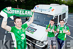#COYBIG : Irish fans Ciaran Culloty Kilcummin, Padraig Doyle and Tommy O'Sullivan who have restored an old camper van for their road trip for the Euros in France
