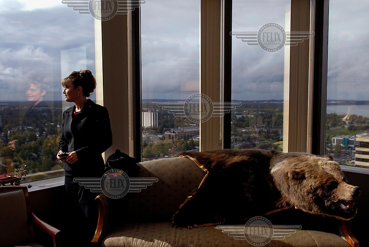 Sarah Palin, Governor of Alaska, in her office in Anchorage. In 2008 she was nominated as the Republican candidate for Vice President. The bear was shot by her father.