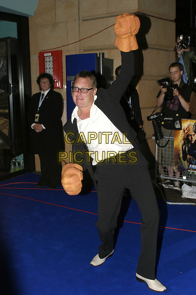 "VIC REEVES .At the UK Film Premiere of ""Fantastic Four"",.Vue Cinema, Leicester Square, .London, July 18th 2005..full length funny golves giant hands costume 4.Ref: AH.www.capitalpictures.com.sales@capitalpictures.com.©Adam Houghton/Capital Pictures."