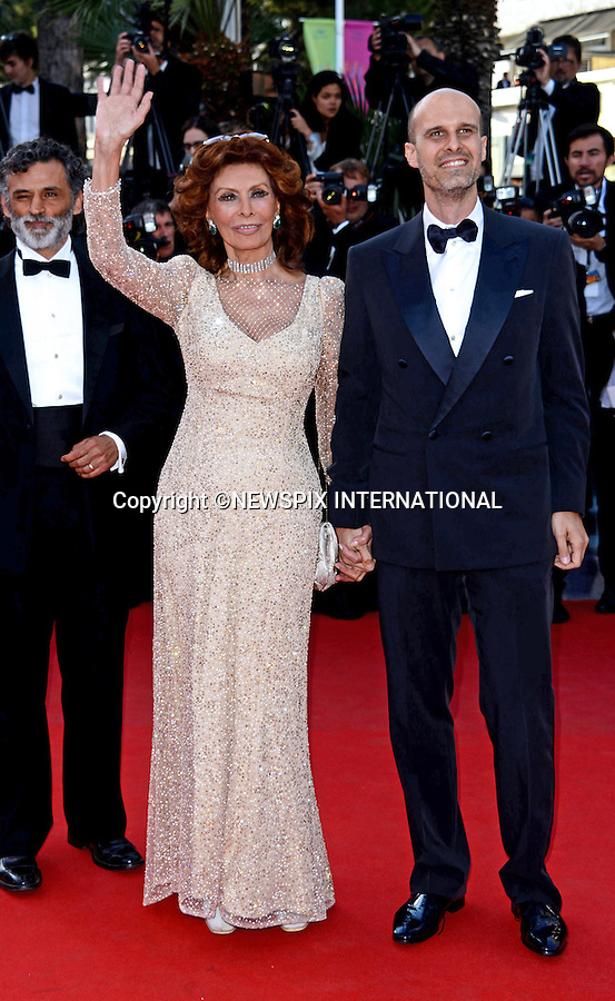 SOFIA LOREN AND SON EDOARDO PONTI<br /> attends the &quot;Deux Jour, Une Nuit&quot; screening at the 67th Cannes Film Festival, Cannes<br /> Mandatory Credit Photo: &copy;NEWSPIX INTERNATIONAL<br /> <br /> **ALL FEES PAYABLE TO: &quot;NEWSPIX INTERNATIONAL&quot;**<br /> <br /> IMMEDIATE CONFIRMATION OF USAGE REQUIRED:<br /> Newspix International, 31 Chinnery Hill, Bishop's Stortford, ENGLAND CM23 3PS<br /> Tel:+441279 324672  ; Fax: +441279656877<br /> Mobile:  07775681153<br /> e-mail: info@newspixinternational.co.uk