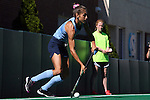 25 October 2014: North Carolina's Emily Wold. The University of North Carolina Tar Heels hosted the Wake Forest University Demon Deacons at Francis E. Henry Stadium in Chapel Hill, North Carolina in a 2014 NCAA Division I Field Hockey match. UNC won the game 3-1.