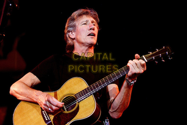 "ROGER WATERS.Live in Ahoy Stadium during his sold-out ""In The Flesh"" concert in The Netherlands..Ref: SH.stage gig performance music half length guitar.www.capitalpictures.com.sales@capitalpictures.com.©Capital Pictures"
