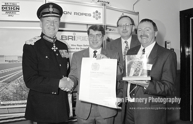 Pix: Shaun Flannery/shaunflanneryphotography.com...COPYRIGHT PICTURE>>SHAUN FLANNERY>01302-570814>>07778315553>>..1st July 1993..Bridon Ropes receive the Queens Award for Industry from the Lord Lieutenant of South Yorkshire Major Hugh Neill.