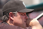 26 June 2011                Toronto Blue Jays manager John Farrell (52) watches from the dugout. The Toronto Blue Jays defeated the St. Louis Cardinals 5-0 in the final game of a three-game inter-league series on Sunday June 26, 2011 at Busch Stadium in downtown St. Louis.