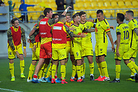 David Ball celebrates scoring the 3rd Phoneix goal during the A-League football match between Wellington Phoenix and Melbourne Victory FC at Sky Stadium in Wellington, New Zealand on Sunday, 15 March 2020. Photo: Dave Lintott / lintottphoto.co.nz
