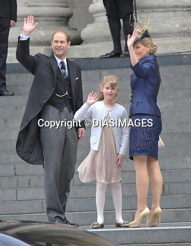 "PRINCE EDWARD, SOPHIE AND DAUGHTER LOUISE.QUEEN CELEBRATES DIAMOND JUBILEE.The Queen and 50 members of the Royal Family attended a church service to celebrate her Diamond Jubilee at St. Paul's Cathedral, London_05/06/2012.Mandatory Credit Photo: ©Francis Dias/DIASIMAGES..**ALL FEES PAYABLE TO: ""NEWSPIX INTERNATIONAL""**..IMMEDIATE CONFIRMATION OF USAGE REQUIRED:.Newspix International, 31 Chinnery Hill, Bishop's Stortford, ENGLAND CM23 3PS.Tel:+441279 324672  ; Fax: +441279656877.Mobile:  07775681153.e-mail: info@newspixinternational.co.uk"