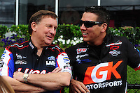 Apr. 29, 2012; Baytown, TX, USA: NHRA pro stock driver Dave Connolly (right) with Larry Morgan during the Spring Nationals at Royal Purple Raceway. Mandatory Credit: Mark J. Rebilas-