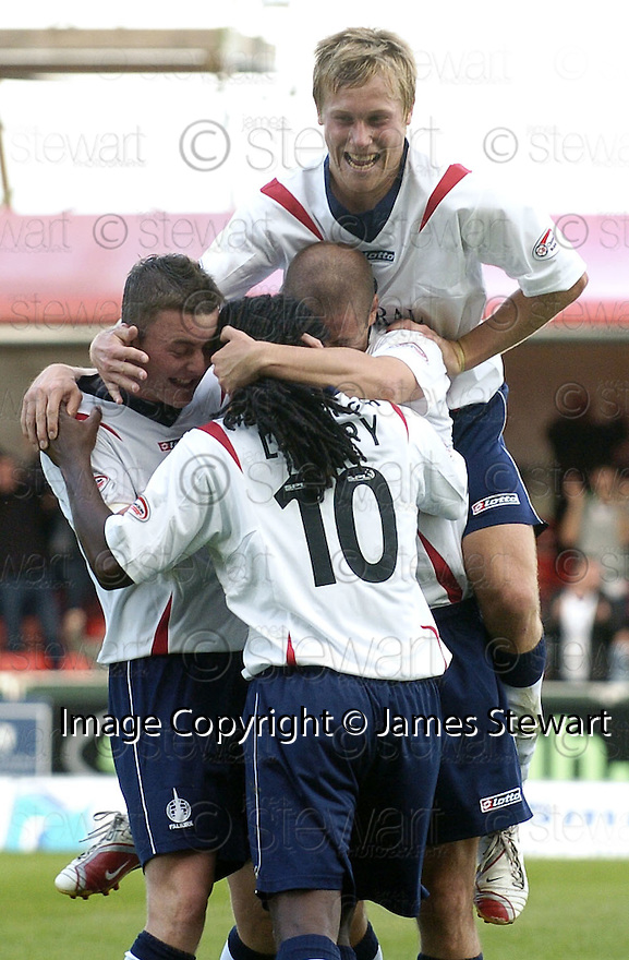 22/09/2007       Copyright Pic: James Stewart.File Name : sct_jspa09_falkirk_v_motherwell.RUSSELL LATAPY IS CONGRATULATED AFTER SCORING FALKIRK'S GOAL....James Stewart Photo Agency 19 Carronlea Drive, Falkirk. FK2 8DN      Vat Reg No. 607 6932 25.Office     : +44 (0)1324 570906     .Mobile   : +44 (0)7721 416997.Fax         : +44 (0)1324 570906.E-mail  :  jim@jspa.co.uk.If you require further information then contact Jim Stewart on any of the numbers above........