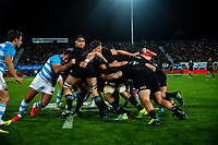The All Blacks maul the ball upfield the Rugby Championship match between the New Zealand All Blacks and Argentina Pumas at Trafalgar Park in Nelson, New Zealand on Saturday, 8 September 2018. Photo: Dave Lintott / lintottphoto.co.nz