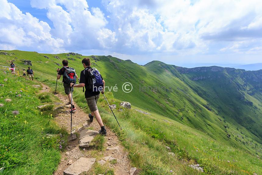 France, Cantal (15), sentier de randonnée proche du sommet du Plomb du Cantal // France, Cantal, Plomb du Cantal, hiking near the top of Plomb du Cantal