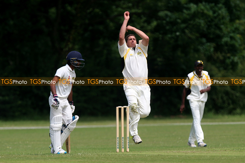 J Pegram in bowling action for Gidea Park during Gidea Park and Romford CC vs Harold Wood CC, Shepherd Neame Essex League Cricket at Gidea Park Sports Ground on 1st July 2017