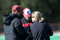 STANFORD, CA - November 4, 2011: Assistant Coach Steve Danielson, Assistant Coach Patrick Cota and Head Coach Tara Danielson during the Stanford vs. Davidson in the second round of  the  NorPac Championship at the Varsity Turf on the Stanford campus Friday afternoon.<br /> <br /> Stanford defeated Davidson 7-2.