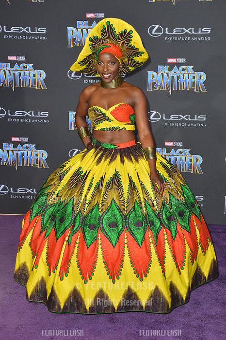 "Janeshia Adams-Ginyard at the world premiere for ""Black Panther"" at the Dolby Theatre, Hollywood, USA 29 Jan. 2018<br /> Picture: Paul Smith/Featureflash/SilverHub 0208 004 5359 sales@silverhubmedia.com"