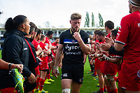 Rhys Priestland of Bath Rugby leads his team off the field after the match. Heineken Champions Cup match, between Bath Rugby and Stade Toulousain on October 13, 2018 at the Recreation Ground in Bath, England. Photo by: Patrick Khachfe / Onside Images