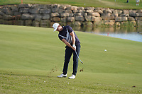 Kristian Krogh Johannessen (NOR) on the 18th during Round 4 of the Portugal Masters, Dom Pedro Victoria Golf Course, Vilamoura, Vilamoura, Portugal. 27/10/2019<br /> Picture Andy Crook / Golffile.ie<br /> <br /> All photo usage must carry mandatory copyright credit (© Golffile | Andy Crook)