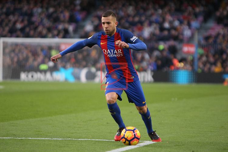 League Santander 2016/2017. Game: 18.<br /> FC Barcelona vs UD Las Palmas: 5-0.<br /> Jordi Alba.
