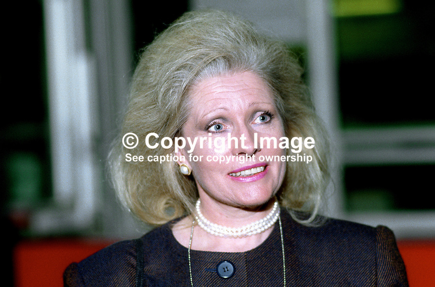 Marion Roe, MP, politician, Conservative Party, UK, 19901057MR.<br /> <br /> Copyright Image from Victor Patterson, 54 Dorchester Park, <br /> Belfast, UK, BT9 6RJ<br /> <br /> t1: +44 28 9066 1296 (from Rep of Ireland 048 9066 1296)<br /> t2: +44 28 9002 2446 (from Rep of Ireland 048 9002 2446)<br /> m: +44 7802 353836<br /> <br /> e1: victorpatterson@me.com<br /> e2: victorpatterson@gmail.com<br /> <br /> www.victorpatterson.com<br /> <br /> Please see my Terms and Conditions of Use at www.victorpatterson.com. It is IMPORTANT that you familiarise yourself with them.<br /> <br /> Images used on the Internet must be visibly watermarked i.e. &copy; Victor Patterson within the body of the image and copyright metadata must not be deleted. Images used on the Internet have a size restriction of 4kbs and will be chargeable at current NUJ rates unless agreed otherwise.<br /> <br /> This image is only available for the use of the download recipient i.e. television station, newspaper, magazine, book publisher, etc, and must not be passed on to any third party. It is also downloaded on condition that each and every usage is notified within 7 days to victorpatterson@me.com<br /> <br /> The right of Victor Patterson to be identified as the author is asserted in accordance with The Copyright Designs And Patents Act (1988).