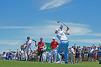 Russell Knox (SCO) tees off on the first hole during the third round of the 118th U.S. Open Championship at Shinnecock Hills Golf Club in Southampton, NY, USA. 16th June 2018.<br /> Picture: Golffile | Brian Spurlock<br /> <br /> <br /> All photo usage must carry mandatory copyright credit (&copy; Golffile | Brian Spurlock)