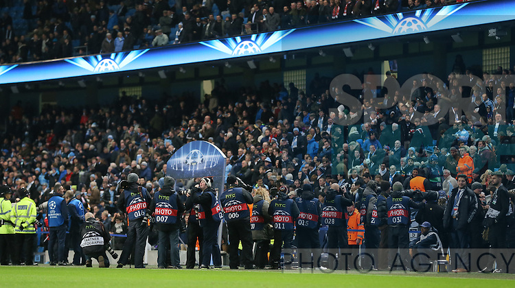 Photographers wait for the teams to come out - UEFA Champions League group E - Manchester City vs Bayern Munich - Etihad Stadium - Manchester - England - 25rd November 2014  - Picture Simon Bellis/Sportimage