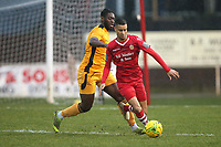 George Saunders of Hornchurch and Calvin Ekpiteta of Merstham during Hornchurch vs Merstham, BetVictor League Premier Division Football at Hornchurch Stadium on 15th February 2020