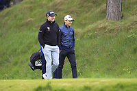 Richard McEvoy (ENG) and Joakim Lagergren (SWE) walking off the 8th tee during Round 2 of the Betfred British Masters 2019 at Hillside Golf Club, Southport, Lancashire, England. 10/05/19<br /> <br /> Picture: Thos Caffrey / Golffile<br /> <br /> All photos usage must carry mandatory copyright credit (&copy; Golffile | Thos Caffrey)