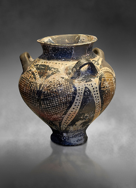 Small Mycenaean amphora decorated with large ivy leaves, Grave VI, Grave Circle A, Mycenae 16-15 Cent BC. National Archaeological Museum Athens. Cat No 192,  Grey art Background