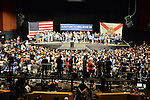 MIAMI, FL - MARCH 08: An overflow crowd of attendees cheer during a campaign event for Senator Bernie Sanders, an independent from Vermont and 2016 Democratic presidential candidate Bernie Sanders holds a Future to Believe In campaign rally at the James L. Knight Center on Tuesday March 8, 2016 in Miami, Florida. ( Photo by Johnny Louis / jlnphotography.com )