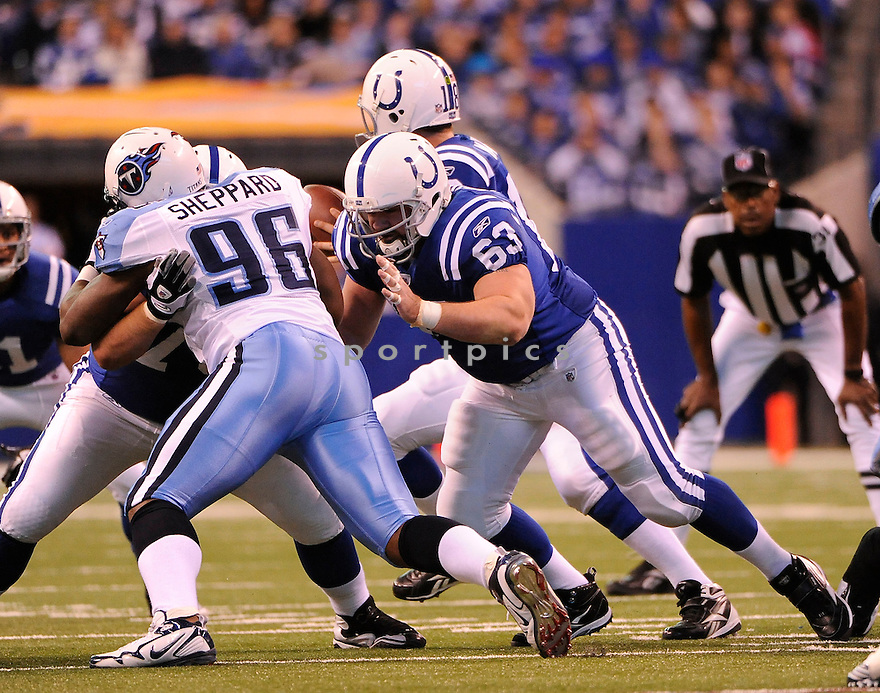 JEFF SATURDAY, of the Indianapolis Colts in action durIng the Colts game against the Tennessee Titans at Lucas Oil Stadium in Indianapolis, Indiana on January 2, 2011...Colts beat the Titans 23-20