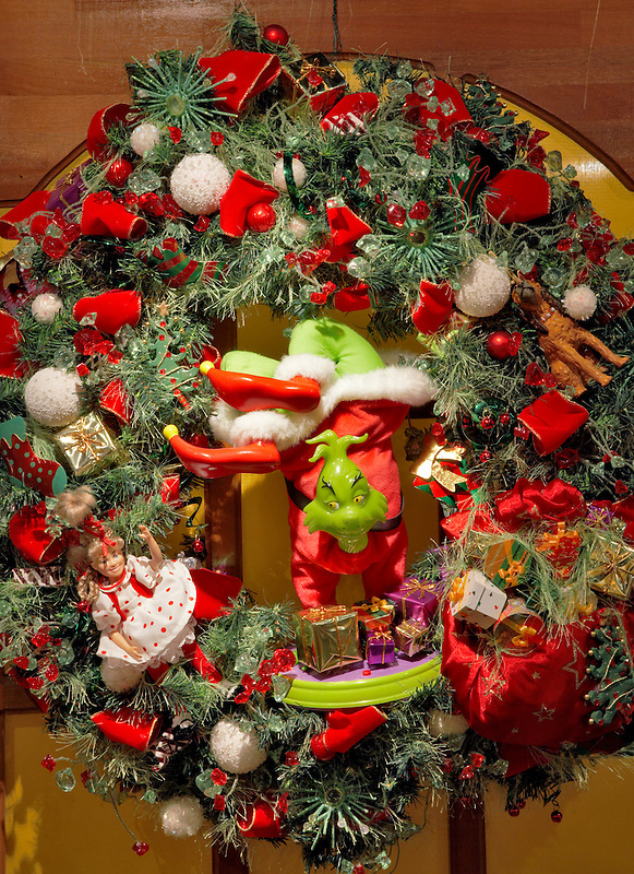 Christmas wreath with grinch. Providence Festival of Trees. Portland. Oregon
