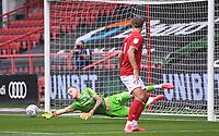 4th July 2020; Ashton Gate Stadium, Bristol, England; English Football League Championship Football, Bristol City versus Cardiff City; Daniel Bentley of Bristol City saves the shot at goal