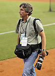 Palm Beach Post staffer Alan Eyestone during Marlins Park Opening Night game between the Miami Marlins and the Cardinals on Wednesday, April 4, 2012.