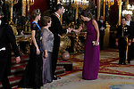 Spanish Royals attend a Gala Dinner in honour of President of Chile Michelle Bachelet at The Royal Palace in Madrid. In the pic King Felipe VI shakes hand to Amaya Valdemoro. October 29, 2014. (Jose Luis Cuesta/POOL/ALTERPHOTOS)