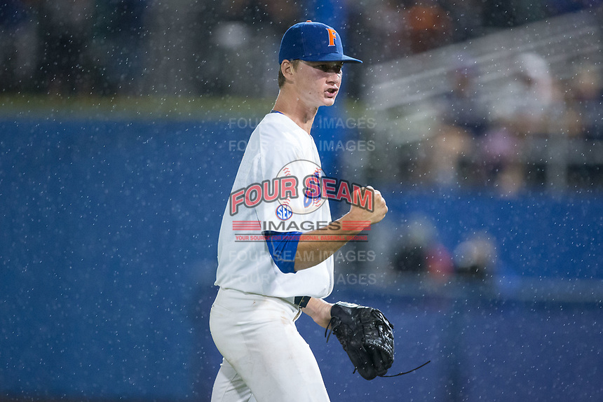 Florida Gators relief pitcher Brady Singer (51) reacts after getting an out during the game against the Wake Forest Demon Deacons in Game One of the Gainesville Super Regional of the 2017 College World Series at Alfred McKethan Stadium at Perry Field on June 10, 2017 in Gainesville, Florida.  The Gators defeated the Demon Deacons 2-1 in 11 innings.  (Brian Westerholt/Four Seam Images)